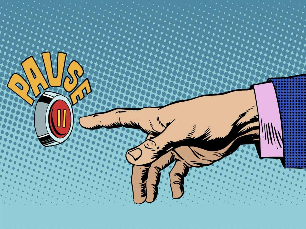 Cartoon of a pause button