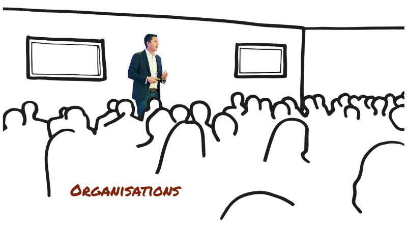 Organistions - Image of Rob Cross addressing a group.